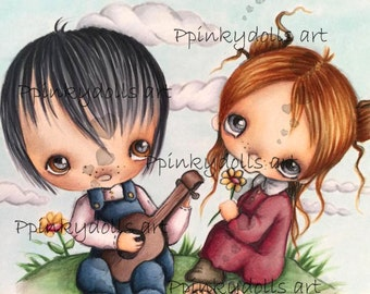 INSTANT DOWNLOAD Digital Digi Stamps..by Chrishanthi's art,A love song for you''