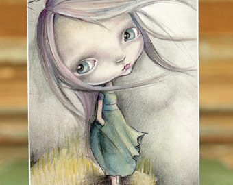 "Miniature woodblock...from my original artwork..little princess"""