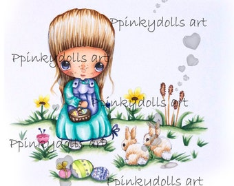 INSTANT DOWNLOAD Digital Digi Stamps..by Chrishanthi's art,Two bunny friends''