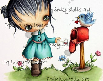 INSTANT DOWNLOAD Digital Digi Stamps..by Chrishanthi's art,Love letter''.