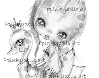 INSTANT DOWNLOAD Digital Digi Stamps..by Chrishanthi's art,Swan girl.