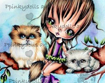 INSTANT DOWNLOAD Digital Digi Stamps..by Chrishanthi's art,Playing with Kittens