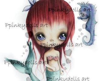 INSTANT DOWNLOAD Digital Digi Stamps..by Chrishanthi's art,Mermaid and Hip''