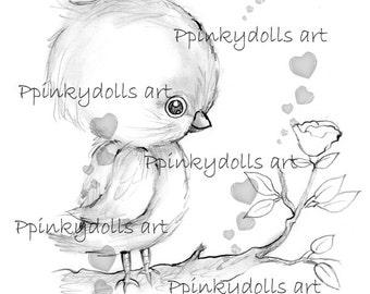 INSTANT DOWNLOAD Digital Digi Stamps..by Chrishanthi's art,Baby Chick''