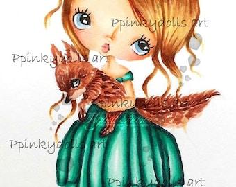 INSTANT DOWNLOAD Digital Digi Stamps..by Chrishanthi's art,Fox girl''