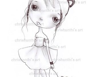 INSTANT DOWNLOAD Digital Digi Stamps..by Chrishanthi's art,Catgirl.