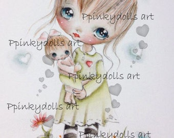 INSTANT DOWNLOAD Digital Digi Stamps..by Chrishanthi's art,Holding my baby'