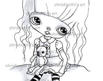 INSTANT DOWNLOAD Digital Digi Stamps..by Chrishanthi's art,My rag bear.