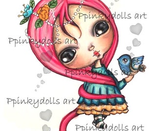 INSTANT DOWNLOAD Digital Digi Stamps..by Chrishanthi's art..Gigi with bird''