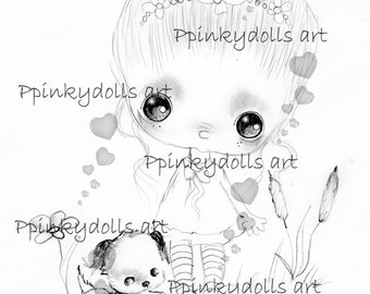 INSTANT DOWNLOAD Digital Digi Stamps..by Chrishanthi's art,Marilou''