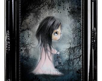 "Print  signed  Chrishanthi' ""Fairy girls"" lowbrow pop surreal big eyes ,  gothic art"