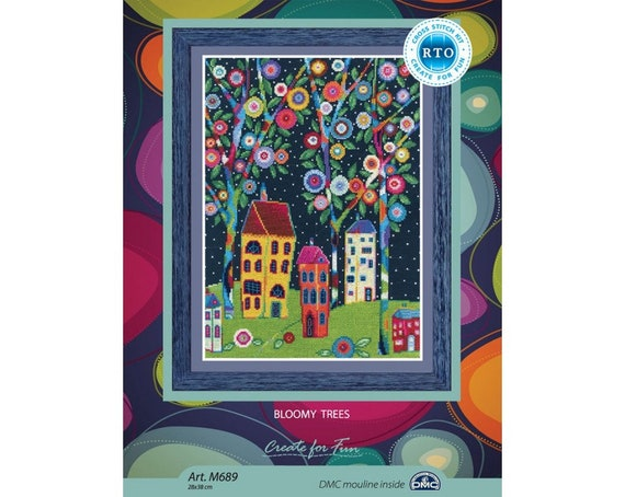 Counted Cross Stitch Kit Bloomy trees M689 by RTO