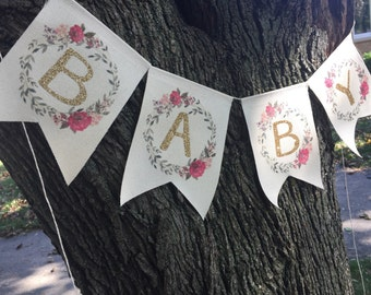 Baby banner | Floral baby shower banner | Baby girl bunting | welcome baby sign | oh baby | photo prop | woodland | boho baby shower garland