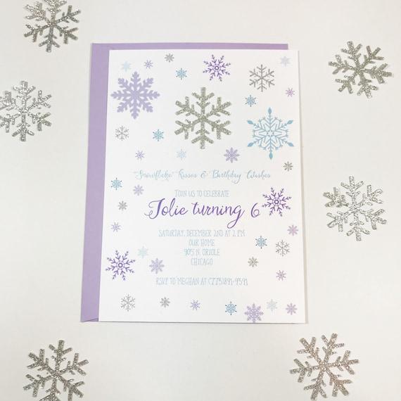 Winter Birthday Invitation Snowflake Invitation Winter Etsy
