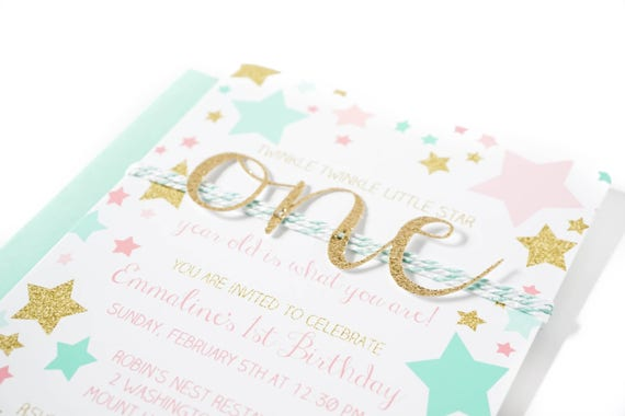 pink gold and mint green stars with glitter number birthday