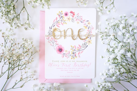 First birthday invitation girl, pink and gold, boho floral 1st birthday, garden party, printed first birthday invitations T2