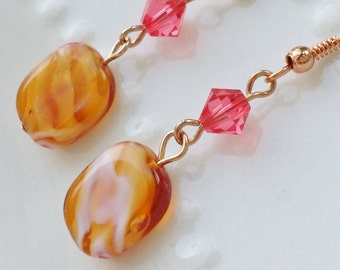 """Rose Gold Earrings Drop Dangle Earrings  """"STRAWBERRY CARAMEL CHEESECAKE""""Vintage Style Earrings Strength for the Journey Strength4theJourney"""