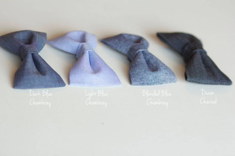 eccd11b3b2c63 Baby to Boy Bow Ties - Handmade Fabric Bowties - Blue Neutral, Charcoal  Tones for Babies up to young Boys - Choose ONE from 4 colour options