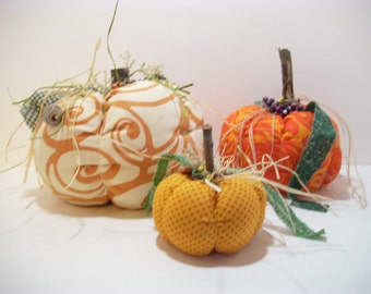 Fabric Pumpkins, Halloween, Thanksgiving, Fall Decor, Autumn Decor, Home Decor, Home and Living, Party Decor, Pumpkins, Ornaments, Accents