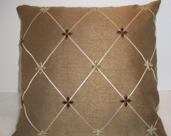 Handmade Decorative Pillow Cover, Home Decor, Throw Pillow, Tan, Christopher Lowell Fabric, Brown Pillow Cover, Earth Tone, Cushion Cover