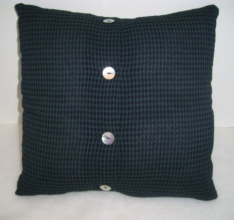 Throw Pillow Forrest Green Upcycled Decorative Pillow Cover Home Decor Toss Pillow Navy Blue