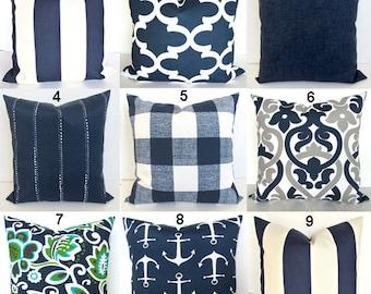 Navy Outdoor Pillows Etsy