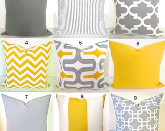 Yellow Gray Pillow Etsy