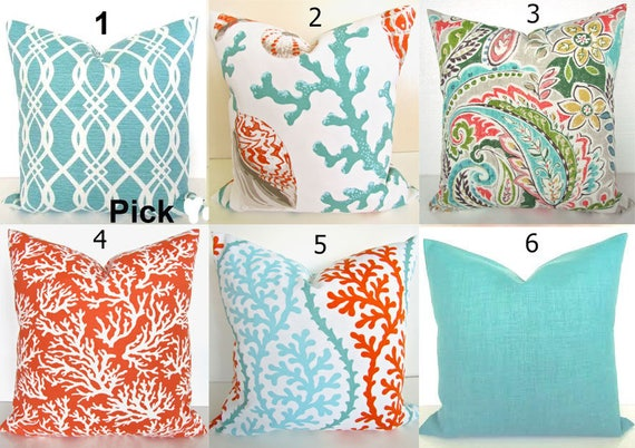 Coral Pillows Orange Outdoor Throw Pillow Covers Orange Coral Etsy