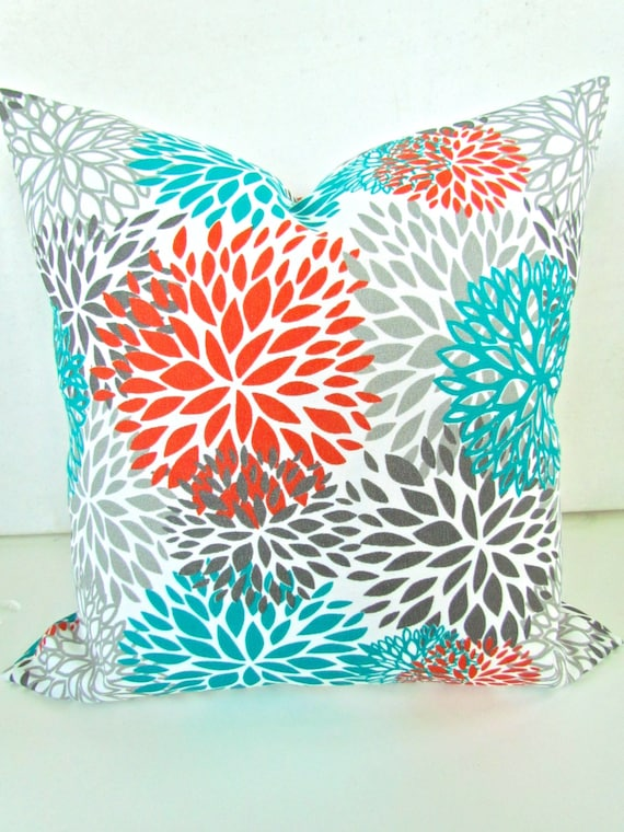 Items Similar To Orange Pillows Orange Teal Throw Pillow