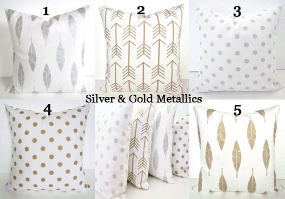 METALLIC PILLOWS Silver Pillows Gold Metallic Throw Pillows | Etsy