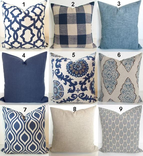 Tan Pillows Navy Blue Throw Pillow Covers Dark Blue Pillows Etsy