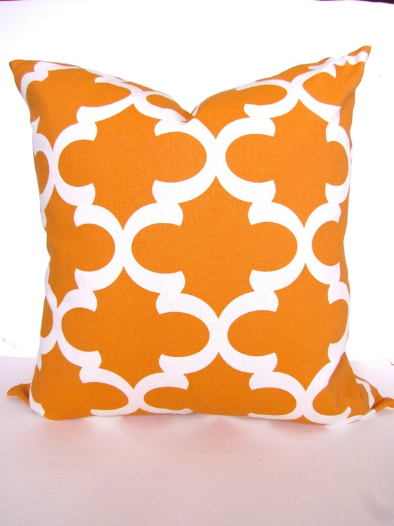 ORANGE THROW PILLOWS Orange Pillows Orange Throw Pillow Covers 20x20  Quatrefoil Copper Pillow Cover Home and living Halloween Moroccan Sale