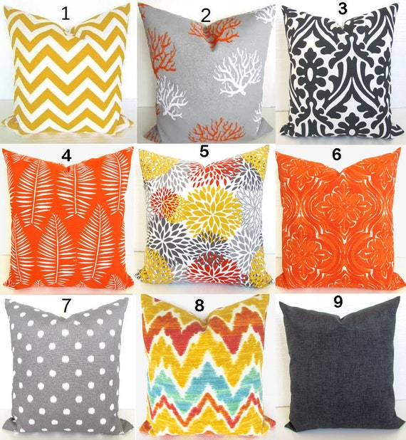 orange outdoor pillows yellow pillow covers orange grey throw etsy. Black Bedroom Furniture Sets. Home Design Ideas