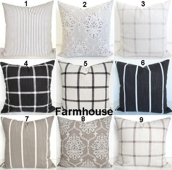 FARMHOUSE PILLOW Covers Black Throw Pillows Tan Pillows Gray Buffalo Check  Pillow Covers 16 18x18 20 Black Pillows Gray Pillow Covers