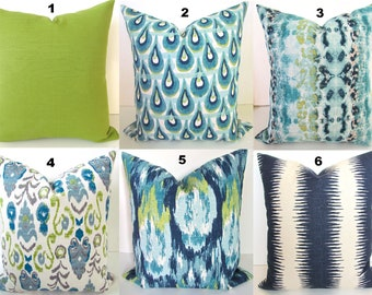 TURQUOISE Pillows Teal Pillows Blue Throw Pillow Covers Turquoise Navy Blue Pillow Covers All Sizes Lime Green 18x18 20x20 Home Decor