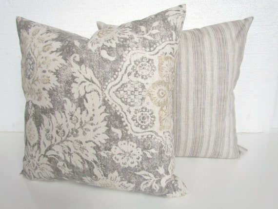GRAY PILLOWS TAN Throw Pillow Covers