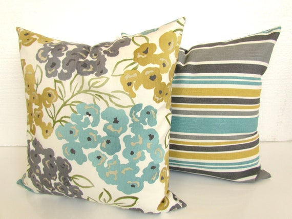 Turquoise PILLOWS Teal Decorative Pillow Covers Gray Pillows Etsy Inspiration Gray And Yellow Decorative Pillows