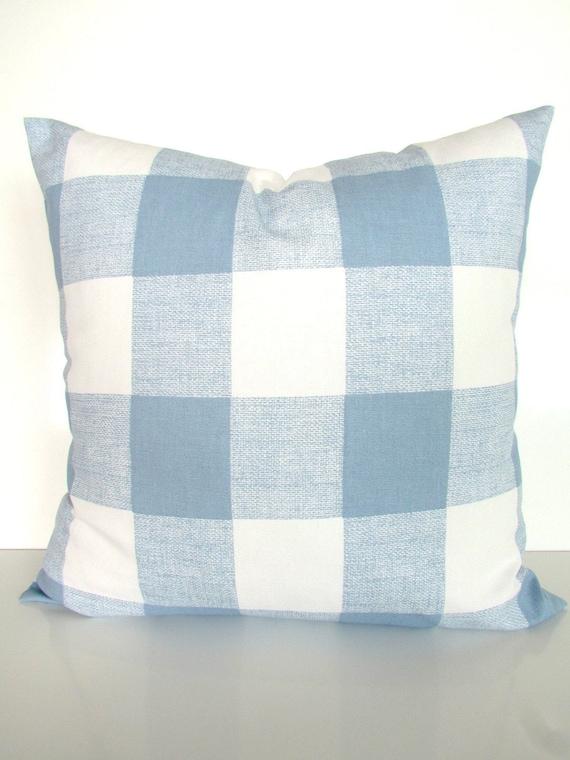 Blue Buffalo Check Pillows Blue Throw Pillow Covers Cashmere Etsy