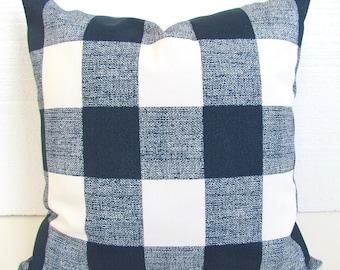 BLUE OUTDOOR BUFFALO Check Pillow Covers Navy Blue Outdoor Throw Pillow Covers 16 18x18 20 Dark Blue Checked outdoor pillows