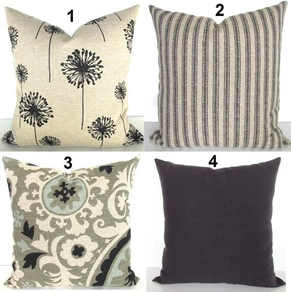 BLACK PILLOW Black Pillows Tan Pillow Covers Black Ticking Etsy Impressive Black And Tan Decorative Pillows