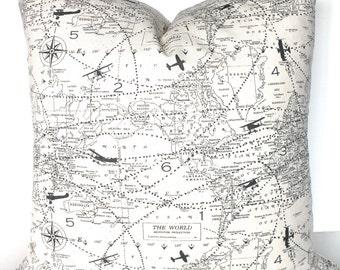 Gray PILLOW Maps Gray Pillow Covers Throw Pillow Covers GRAY World Maps Throw Pillows Grey Planes Atlas 16 18x18 All Sizes. Home Decor