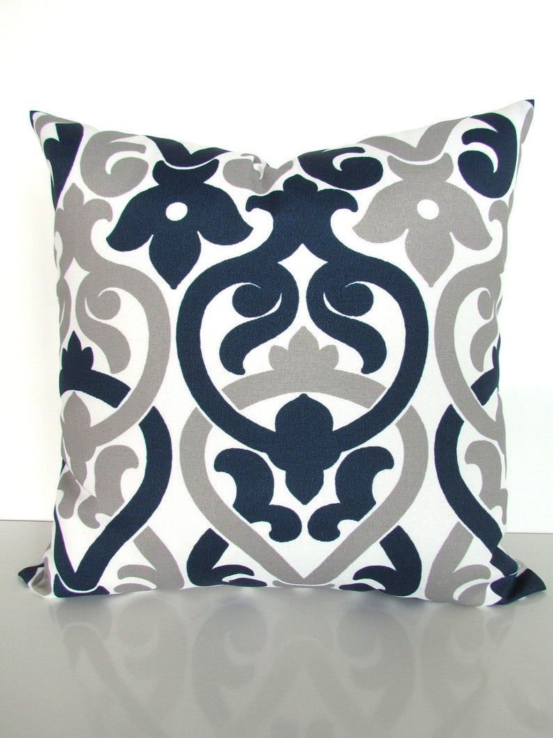 Blue Outdoor Pillows Blue Throw Pillows Gray Throw Pillow Etsy