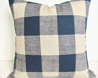 BLUE Plaid PILLOW Covers Blue Buffalo Plaid Throw Pillows Dark Blue Checked Pillow Covers 16 18x18 20 Dark Blue Tan Pillow Home and Living