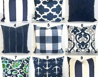 BLUE OUTDOOR PILLOW Navy Blue Throw Pillow Covers Blue Throw Pillows Turquoise Green Aqua Green Gray Outdoor pillow covers 16 18 20x20 Grey