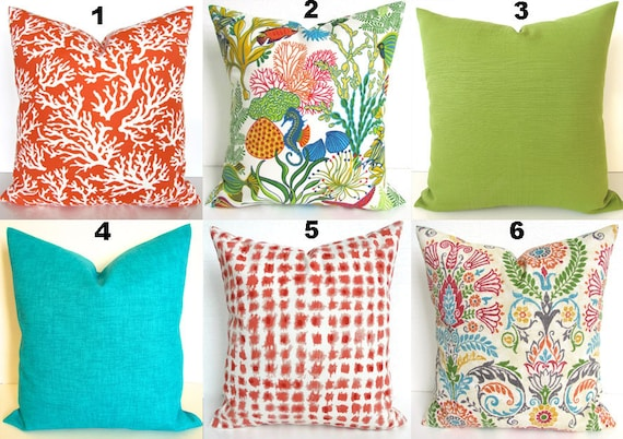Teal Orange Throw Pillow Covers