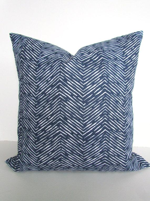 BLUE PILLOWS Blue Throw Pillows Dark Blue Throw Pillow Covers Blue Pillow Covers Blue Herrringbone 16 18x18 20 .All Sizes. Home Decor