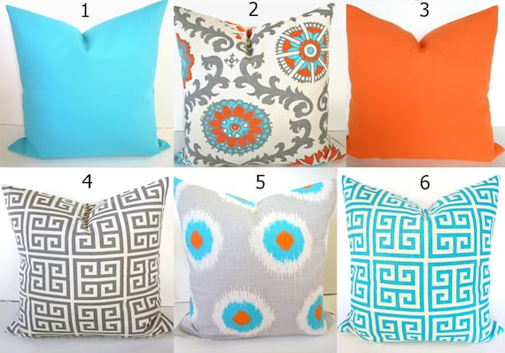 Cool Orange Throw Pillows Orange Pillow Covers Aqua Blue Throw Pillows Turquoise Throw Pillow Covers 16X16 18 20 All Sizes Sale Gray Pillows Cjindustries Chair Design For Home Cjindustriesco