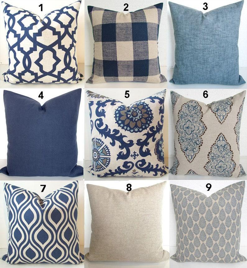 BLUE PILLOWS Navy Blue Throw Pillow Covers Dark Blue Pillows tan pillow  Covers Blue Throw Pillow 20x20 16 18 All Sizes Home Decor Bedding