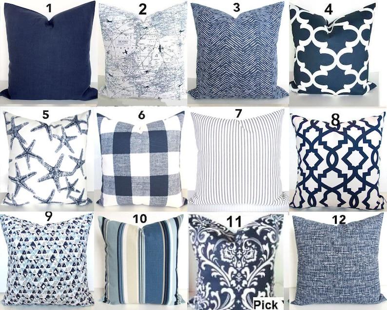 BLUE THROW PILLOWS Navy Blue Pillow Covers Blue Throw Pillows Dark Blue  Throw Pillow Covers Blue Pillow 16 18x18 20 All Sizes Euro Sham