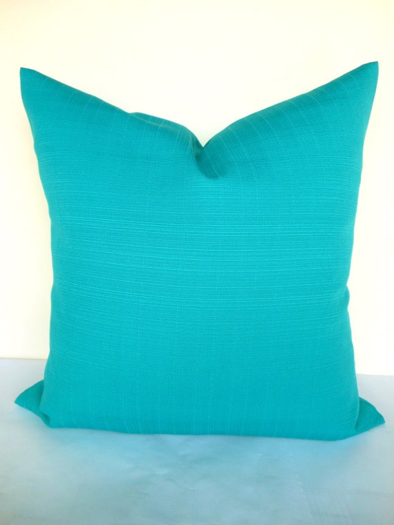 Teal Pillows Solid Turquoise Outdoor Throw Pillow Covers Solid Etsy